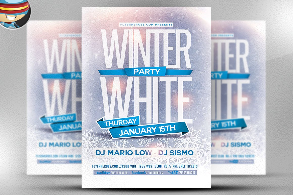 flyer heroes flyerheroes winter flyer templates collection winter white party flyer template