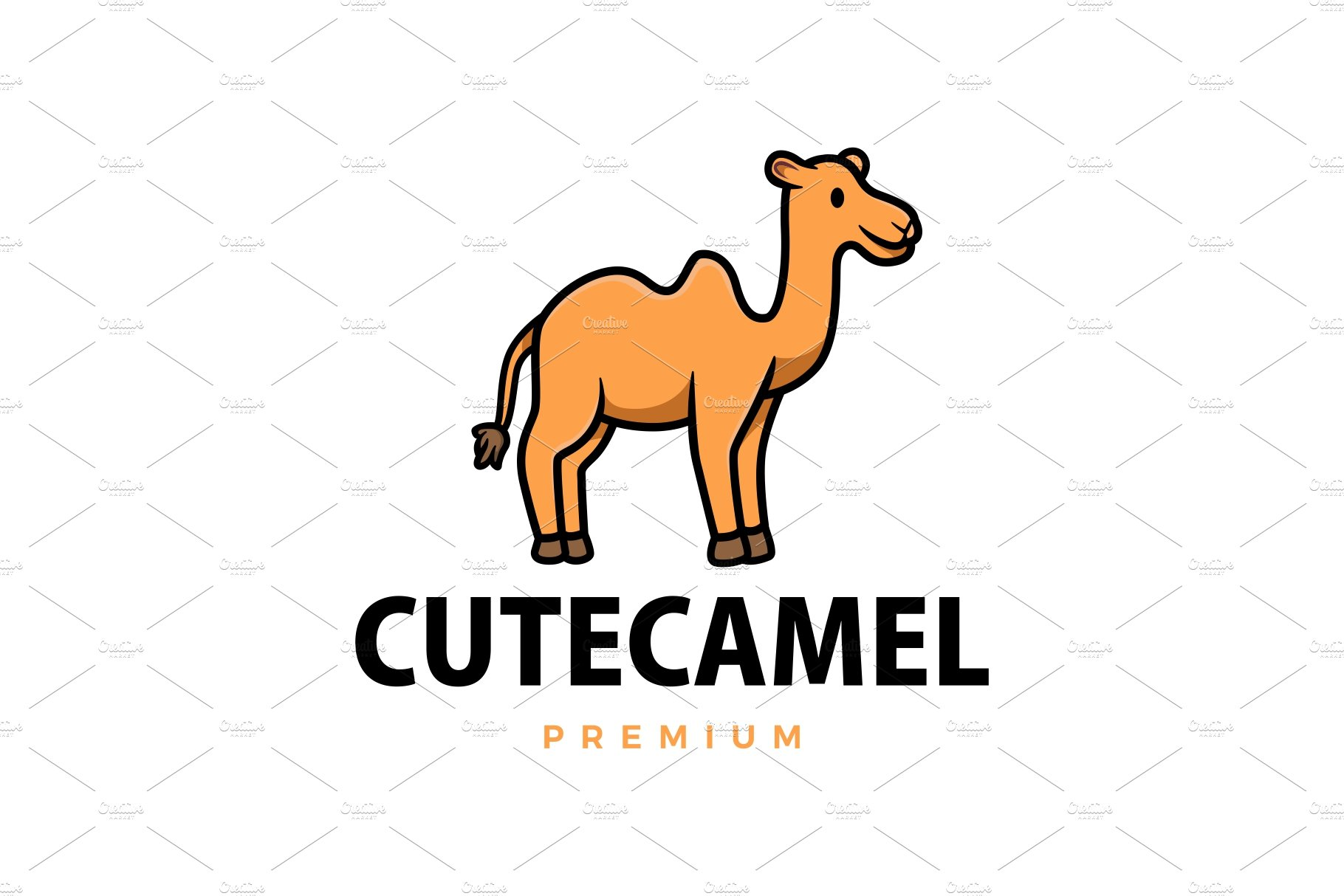 Cute Camel Cartoon Logo Vector Icon Creative Illustrator Templates Creative Market