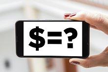 Mobile concept dollar sign: Woman ha