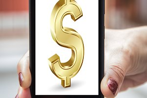 Mobile concept dollar sign: Woman ha