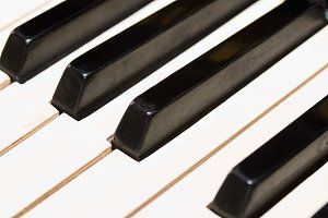 piano keys close up