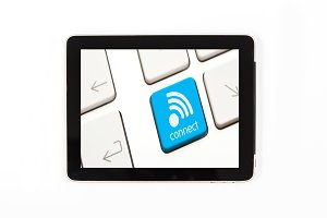 Tablet concept wifi sign:Tablet isol