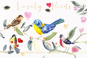 Valentines  birds.watercolor clipart