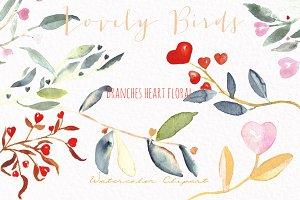 Valentines  birds.watercolor clipart