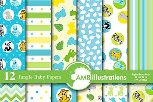 Digital Papers Jungle Babies AMB-599