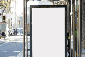Blank advertisement in a bus stop