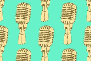 Sketch old microphone
