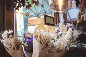 Bouquet of flowers in flower shop