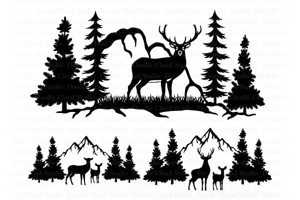 Deer And Mountains Svg Deer Bundle Pre Designed Photoshop Graphics Creative Market