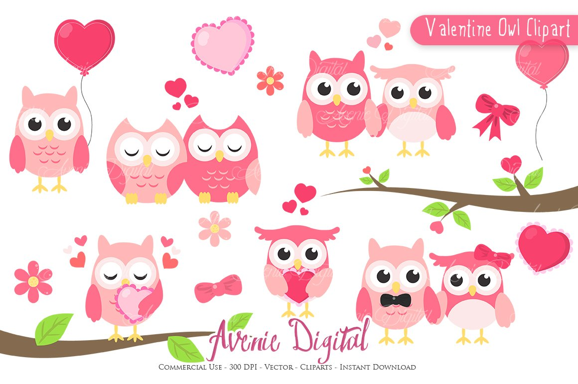 Valentine Owl Clipart Vector Illustrations Creative Market