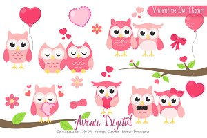 Valentine Owl Clipart - Vector