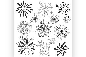 Hand drawn colorful fireworks set