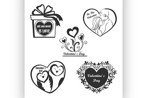 Valentine Day set - labels, emblems