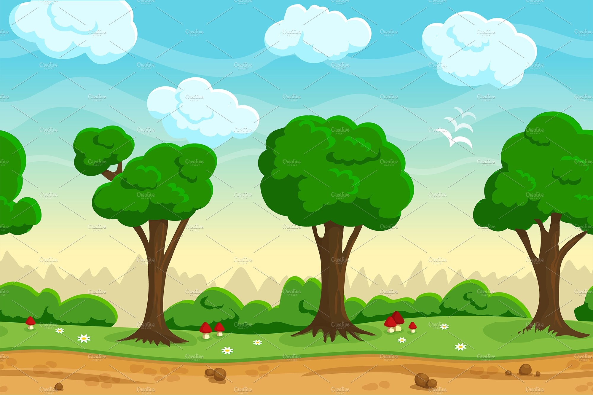 Seamless Cartoon Game Landscape Illustrations Creative Market