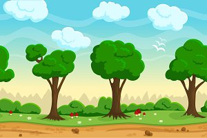 Seamless cartoon game landscape