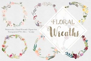 Watercolor Floral Wreaths Vol.1
