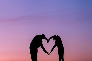 Man and woman. Heart shape