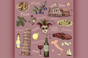 Set of Italy icons hand drawn