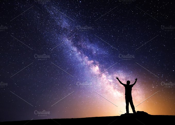 Milky Way. Silhouette of a man - People