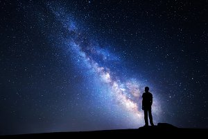 Milky Way. Silhouette of a man