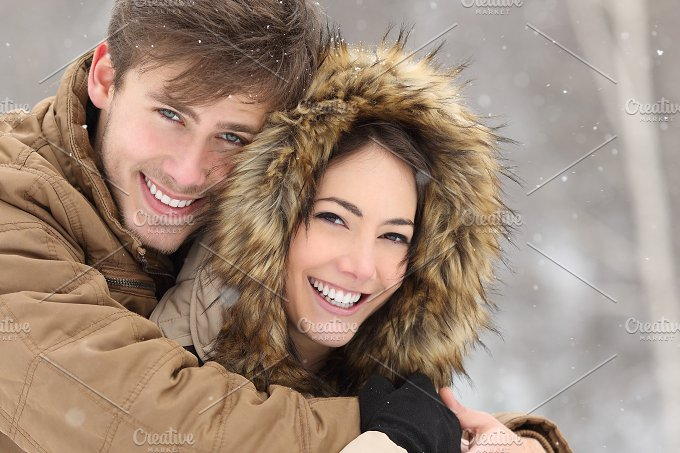 Couple with perfect teeth in winter.jpg - Beauty & Fashion