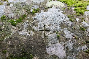 Cross carved in rock