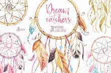 Dreamcatchers. Watercolor collection