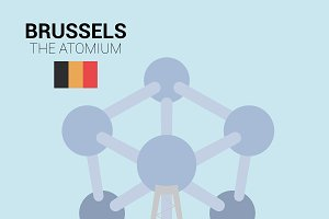 The Atomium, Brussels. Vector