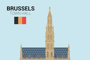 Town Hall, Brussels. Vector