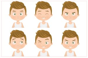 Boy Facial Expressions Set