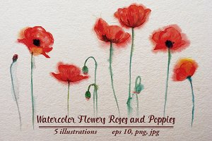 Watercolor Flowers Roses and Poppies