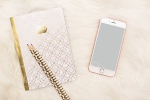 Phone Mockup Rose Gold Styled Stock