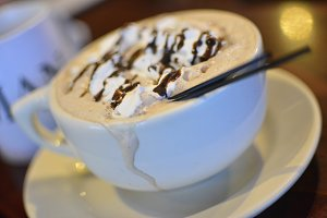 Hot Chocolate At A Coffee Shop