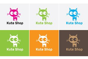 Kute cat shop logo