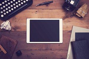 Retro tablet pc writers hero header