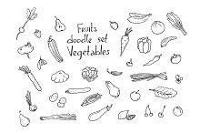 Fruits and vegetables Sketch set