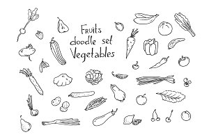 Fruits and vegetables Sketch set