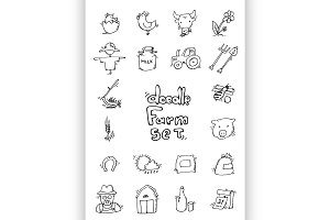 Hand drawn Farm icon set