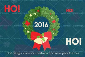 Flat design icons for new year