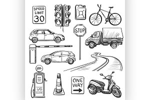 Traffic hand drawn icons set