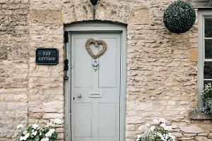 Cottage entrance in a village.