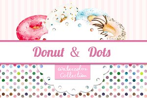 Watercolor set of donuts and dots