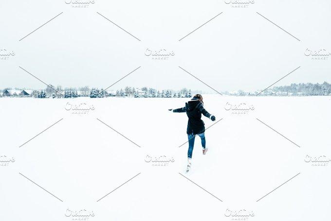 Joyful walk in the snow - Nature