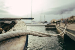 rope of moored boat