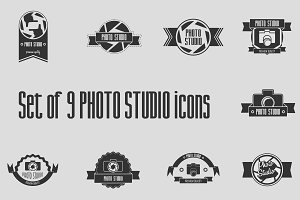 Set of 9 photo studio icons