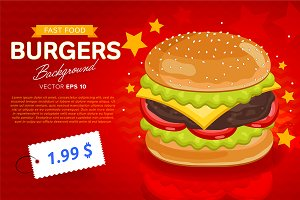 Cheeseburger sale banner template.