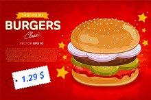 Burger sale banner template.