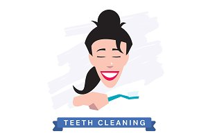 Cleaning teeth. Beautiful smile.