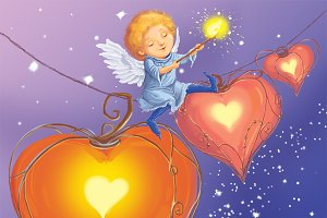 Angel light hearts of love.