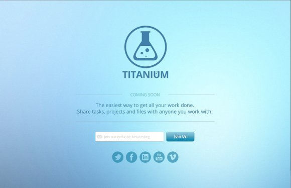 titanium coming soon page html5 website templates creative